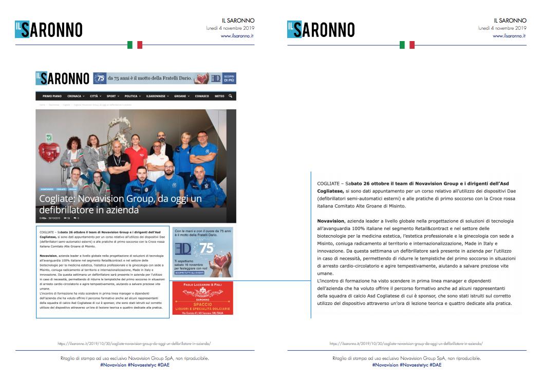 Novavision Group, da oggi un defibrillatore in azienda